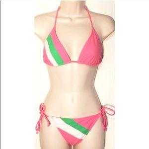 Tommy Hilfiger Swim - 🔷BOGO🔷 TH pink green triangle adjustable bikini